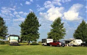 Camping on a grassy knoll in Hamilton, MO. Photo courtesy of Jayma Valentine.